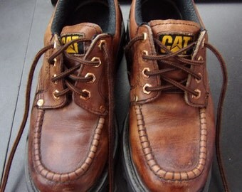 Vintage Unisex Shoes/Brown Leather Boots/Work Boots/CAT Boots/Walking Machines/Oil Resistant/Size E 40 USA 8 UK 7