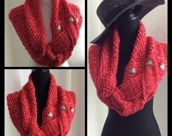 Crochet red  Infinity Scarf, Col, Shawl