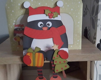 Penguin in red christmas on the shelf card and envelope