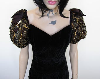 1980's black velvet puffy shoulder party dress, size 8/10