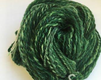 Hand spun  yarn- Rambouillet / Shetland  2 ply in greens