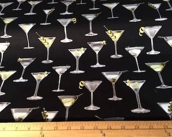 Cheers! Martini Glasses on Black by Robert Kaufman fabric by the yard