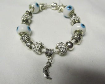 Pandora Leather Bracelet, with  white,Blue and Silver, and Clear Crystal European Charm Bracelet #448
