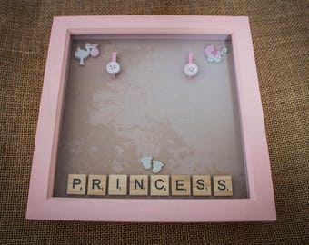Little princess photo frame with baby pink embellishments