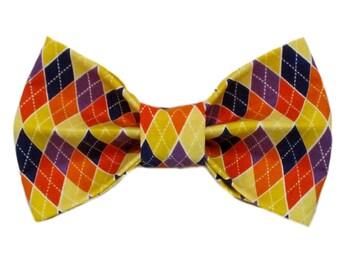 Orange, Yellow and Purple Argyle Dog Bow Tie