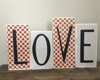 Love blocks / Valentines Day / Wedding decor / customizable