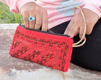Coin Pouch*Ethnic Bag*Boho Bag*Sindhi Mirrored*Clutch Bag*Embroidered*Red Pouch*Tribal*Bohemian*Handcrafted Pouches//FREE SHIPPING//SP2704//