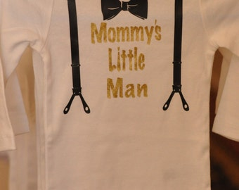 Mommy's Little Man with Suspenders and Bow tie, Carter's Onesie/Bodysuit, Great gift idea for new baby or Christmas