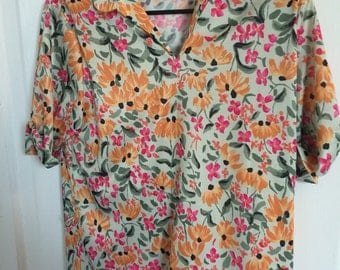 Vintage Ann H Caplan Haband for Her floral blouse