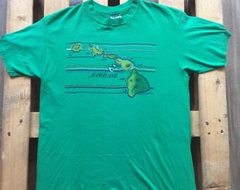 1980s Alohaland t-shirt, aloha, land, hawaii, 80s, vintage, vtg, retro, tee, green, sea, island, sun, beach, surf, usa, united states, sun