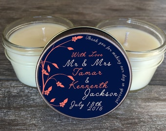 Set of 12 - 4 oz Wedding Candle Favors