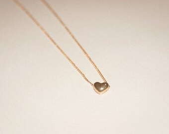 Gold plated small heart necklace, gift for her, cute necklace,