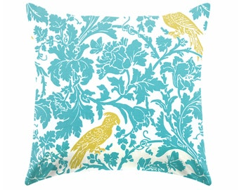 Cushion cover -  teal blue pillow yellow and blue pillow - pillow cover only - cushion cover -ZIPPER CLOSURE
