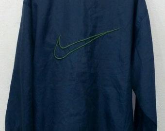 Rare!! Vintage Nike windbreaker big logo half zipper L size Nylon