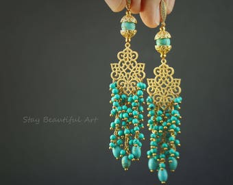 Natural Turquoise Earrings with Cubic Zirconia Silver 925K Gold Plated  Leverback Earwires