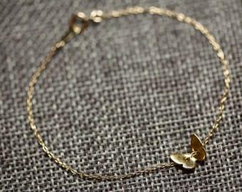 Cute butterfly bracelet//Vermeil//gold filledMinimalist//Simple//Dainty//Everyday//GFV002