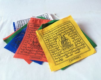 Fine Cotton Set of 5 Roll Gift Pack Tibetan Prayer Flags -10 Flags in each Roll (TPF02A)