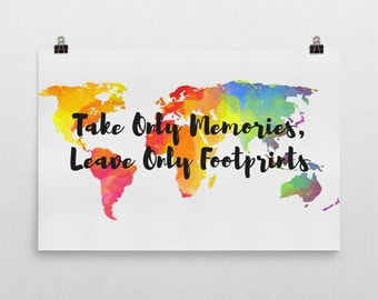 Take Only Memories Leave Only Footprints Sign, Take Only Memories Leave Only Footprints Art, Travel Prints, Travel Wall Art, Travel Quote