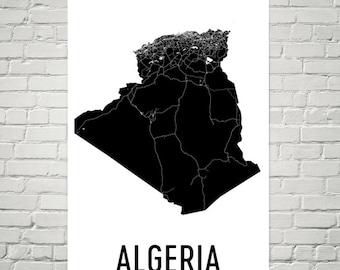 Algeria Map, Map of Algeria, Algerian Art, Algeria Poster, Algeria Wall Art, Algeria Poster, Algeria Gifts, Algeria Decor, Algerian