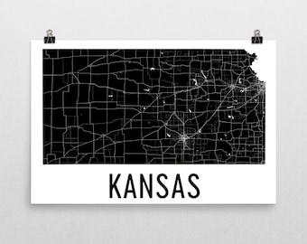 Kansas State, Kansas Map, Kansas Wall Art, Kansas Print, Kansas Art, Kansas Sign, Kansas Gifts, Kansas Decor, Kansas Poster, Map of Kansas