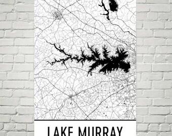 Lake Murray South Carolina, Lake Murray SC, South Carolina Map, SC Decor, Lake Map, Murray Lake Art, Lake House Art, Cottage Decor, Murray
