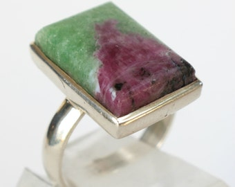 Ruby Zoisite Ring Sterling Silver Gift for Her Birthday