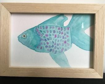 Framed aquarel 'Fish'