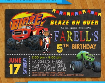 Blaze and the Monster Machines Invitation, Monster Invitation, Blaze and the Monster Machines Birthday , Birthday Party, Blaze Invitation