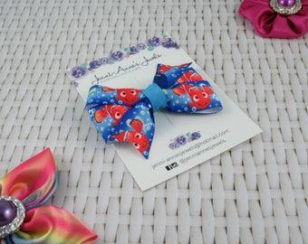 Pinwheel Hair Bow Clip - Nemo/Dory