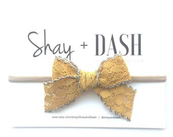 Skinny Cotton Lace Bow-Mustard
