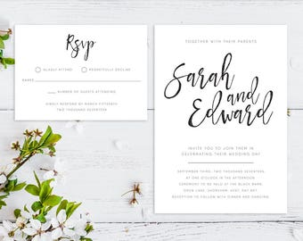 Printable Wedding Invitation/ RSVP/ Save the date/ Thankyou card/ PDF/ Download/ Custom/ Calligraphy/ Script/ Sarah suite #001