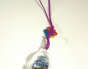 Acrylic Keychain with Pressed Flower