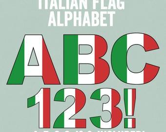 Italian Flag Alphabet Clipart, Italian Letters Alphabet, ABC Italian Flag Clipart, Commercial Use, Italy themed alphabet letters clip art
