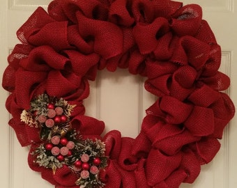 Red Burlap Christmas Wreath with Holly Berries