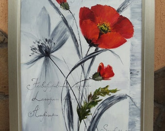 Red poppies on abstract background