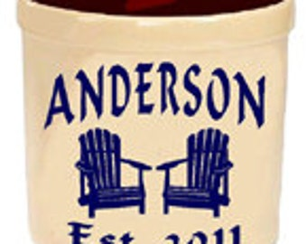 Personalized  Stoneware Crock, Engraved gift, housewarming gift, wedding gift. Last for generations. Adirondack Design