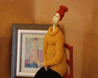 "Art doll ""Modigliani. Jeanne Hèbuterne in a Yellow Sweater"""