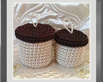acorn basket set of 3 baskets bathroom baskets basket bag nursery decor - Bathroom Baskets