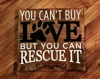 Pet Rescue Wood Sign