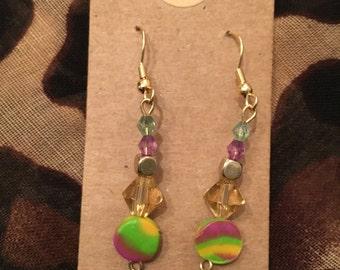 Yellow, green and purple polymer clay bead dangle earrings