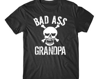 Bad Ass Grandpa Skull Grandparents Day T-Shirt