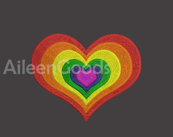 Heart Rainbow Embroidery design 7 Size INSTANT download machine embroidery