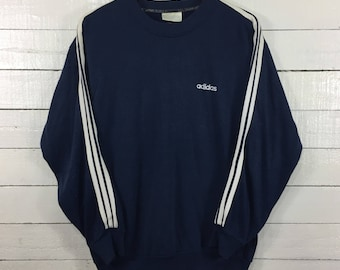 Rare!! Adidas Spellout embroidery Sweatshirt Blue Black Colour Large Size