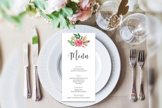Menu word template_16,table menu, word template, weddings, editable menu card, napkin menu insert,calligraphy