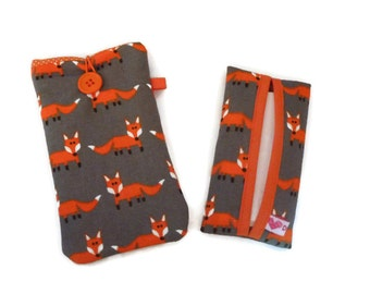 iPhone 7 Plus Pouch, iPhone 7 fabric sleeve, Grey iPhone SE foxes, iPhone 6 Fabric Case, iPhone 5 Pouch Foxes + matching Tissue case