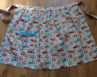 vintage inspired multicoloured cotton campervan fabric half apron pinney