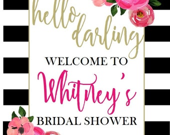 LARGE PRINTABLE Black White Stripe Party Welcome Sign