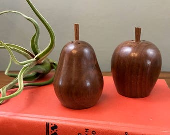 Apple and Pear Salt and Pepper Shakers - Vintage - Wooden
