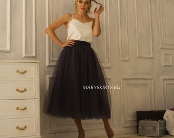 """Tulle skirt with matching lining, fixed waistband with hidden zipper """"sun-shaped"""" (color - 53 Grey)"""