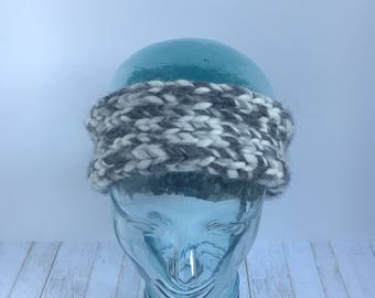 Salt and Pepper black and white headband earwarmer handmade knit